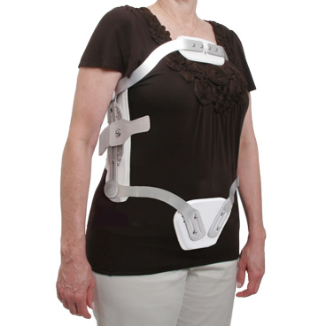 Hyperextension TLSO With Swivel Sternal Pad & DOT Fastener Closure, Adjustable Uprights